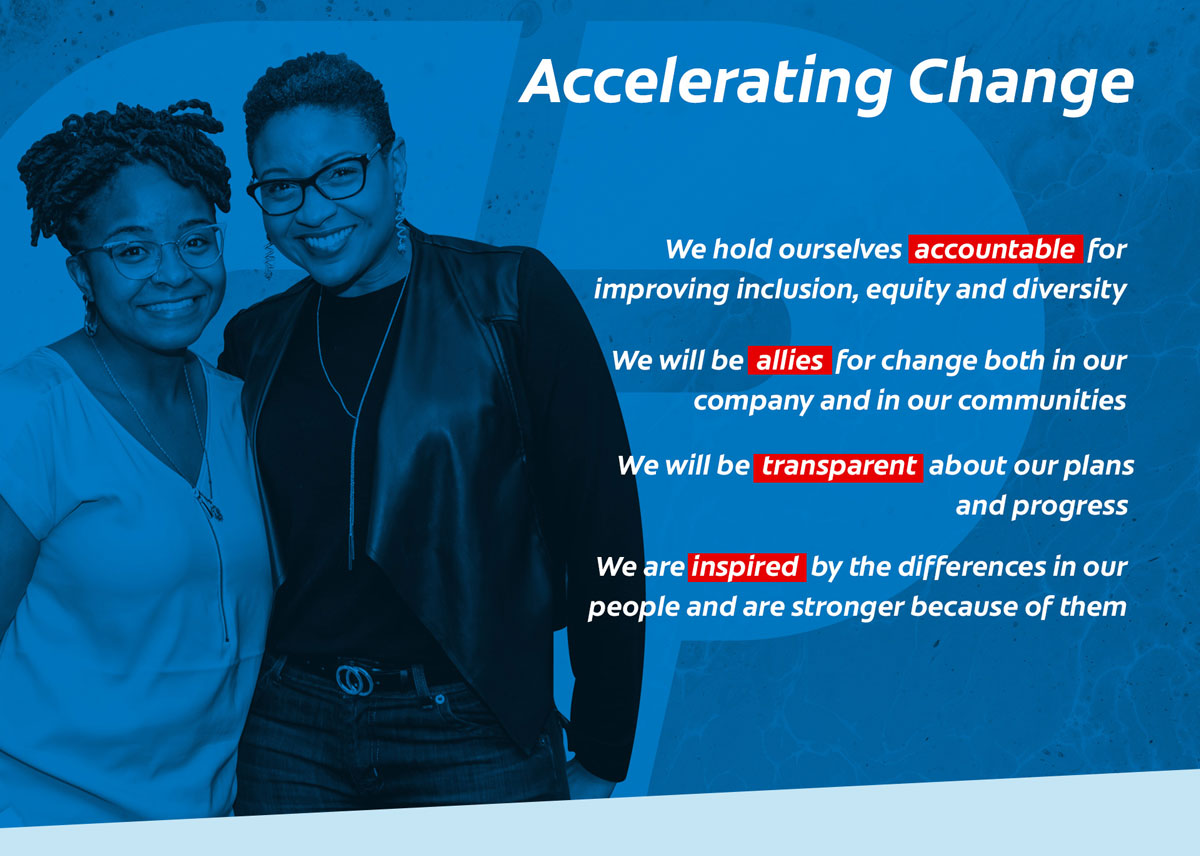 Accelerating change. We hold ourselves accountable for improving inclusion, equity and diversity. We will be allies for change both in our company and in our communities. We will be transparent about our plans and progress. We are inspired by the differences in our people and are stronger because of them