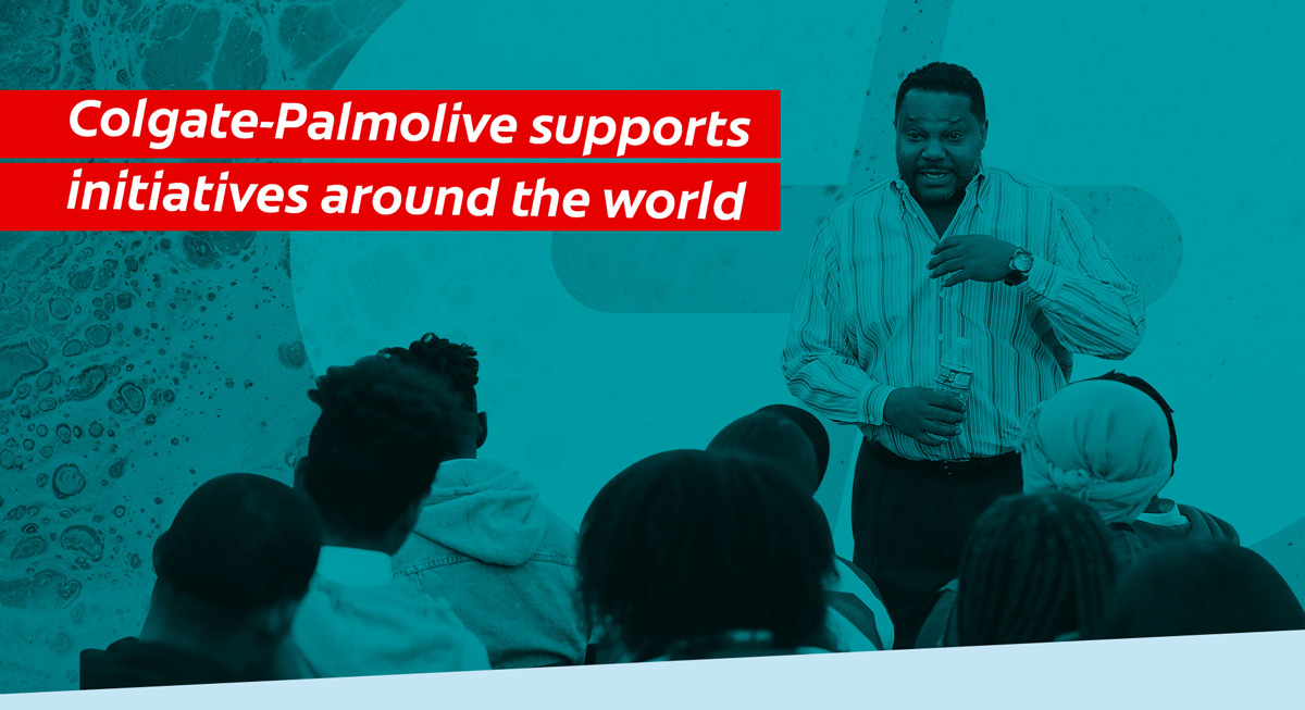 Image with text reading: Colgate-Palmolive represents iniatives around the world