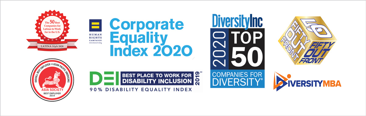 Awards: Corporate Equality Index 2020; DiversityInc 2020 Compamnies for Diversity Top 50; Disability Equality Index - Best place to work for Disability Inclusion 2019; Fifty Out Front - Gold; Inversity MBA