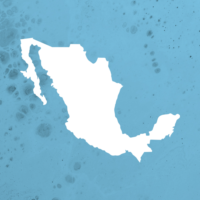 Simplified map silhouette of Mexico