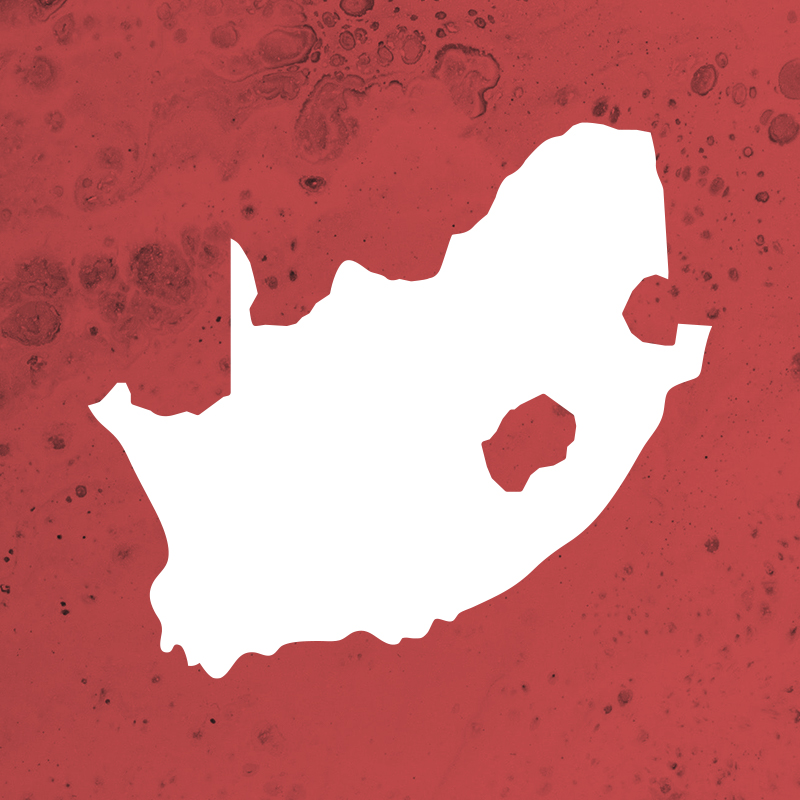 Simplified map silhouette of South Africa