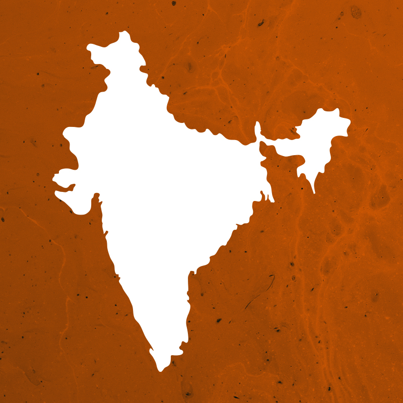 Simplified map silhouette of India