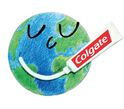 World globe with Colgate toothpaste used to create a smiley face